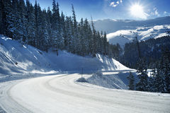 Snowy Mountain Road Royalty Free Stock Photography