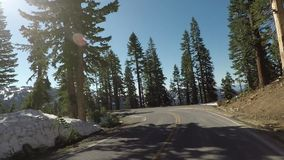 Snowy Mountain Road in Lassen. Volcanic National Park stock video