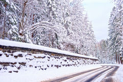 Snowy mountain road Royalty Free Stock Image
