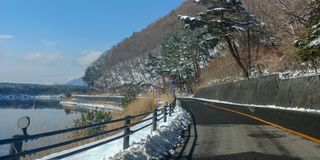 Snowy Mountain Road stock photography