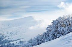 Snowy mountain top upon cloudy sky Stock Photos