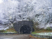 Snowy Mountain Tunnel Stock Images