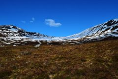 Snowy mountain. On the valley. Photo taken in Norway, 2015 Royalty Free Stock Photography