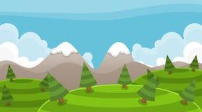 Snowy Mountain Video Game Background. Adventure video game background with snowy and cloudy mountain illustration Stock Photo