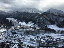 Snowy Mountain view from Yamadera Risshaku temple in Yamagato Ja. Snowy Mountains and city view from Yamadera Risshaku buddhist temple  in Yamagato Japan Royalty Free Stock Photography