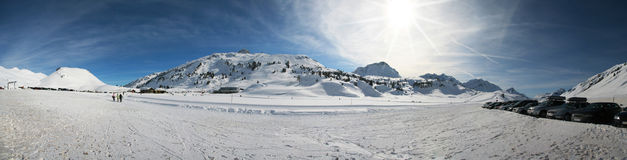 Snowy mountains. Panoramic view of ski area at Warth, Lechtal, Austria Royalty Free Stock Photo