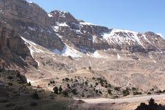 Snowy mountains. Snow mountains and blue sky, Lebanon Stock Photo