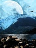 Snowy mountains vector illustration