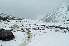 Through snowy mountains Royalty Free Stock Image