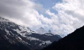 Snowy mountains, Alps, Oberstdorf, Germany. A spring landscape with snowy mountains Royalty Free Stock Image