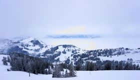 Snowy mountains in the Alps of Switzerland. royalty free stock image
