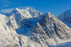 Snowy mountains in arctic Norway royalty free stock photography