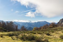 The snowy mountains of Asturias. Under a sunny day breathing an enviable peace Stock Image