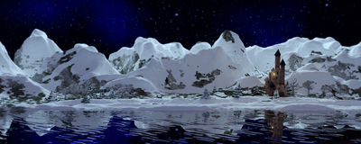 Snowy Mountains banner Stock Image