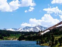 Snowy mountains behind lake Royalty Free Stock Photo