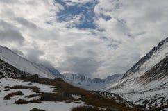 Snowy mountains, Black Sea region, Turkey. Snow along hillside in mountain Black Sea region of Turkey on sunny day royalty free stock photo