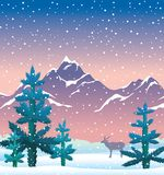 Winter nature ilandscape - fir, mountains, deer, snow, sunset sk. Snowy mountains, blue firs and silhouette of deer on a sunset sky background. Winter landscape Royalty Free Stock Photos