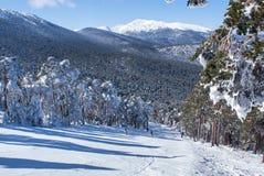 Snowy mountains and bola del mundo in Navacerrada, Madrid, Spain Stock Photos
