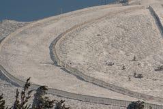 Snowy mountains and bola del mundo in Navacerrada, Madrid, Spain Royalty Free Stock Photos