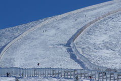 Snowy mountains and bola del mundo in Navacerrada, Madrid, Spain Royalty Free Stock Photo