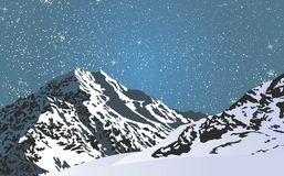 Snowy mountains in a bright starry night. Royalty Free Stock Images