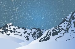 Snowy mountains in a bright starry night. Royalty Free Stock Photos
