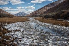 Snow mountain cloud sky Glacier shrub royalty free stock photography