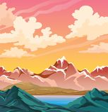 Summer nature landscape - mountains and lake. Snowy mountains and calm blue lake on a sunset sky with cumulus clouds. Vector nature illustration. Summer Royalty Free Stock Images