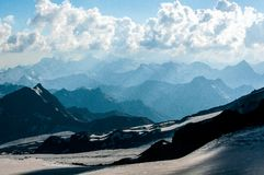 The snowy mountains of Caucasus in July stock images
