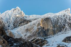Snowy mountains and cave at Gavarnie in the Pyrenees. France Royalty Free Stock Images