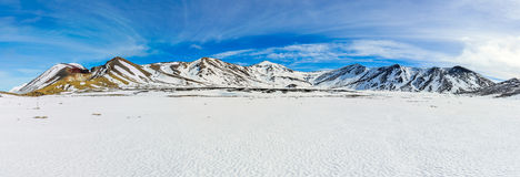 Snowy mountains of Central Crater in the Tongariro National Park Stock Image