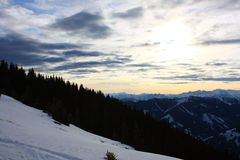 Snowy mountains. With a cloudy sky Royalty Free Stock Photography