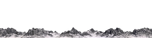 Snowy mountains. 3d render Royalty Free Stock Images