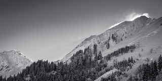 Snowy mountains dusting in austria Royalty Free Stock Images