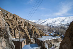 Snowy mountains. In the end of March in historic village Kandowan, Iran Stock Photos