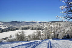 Snowy mountains. Krkonose in Europe Royalty Free Stock Images