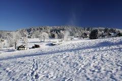 Snowy mountains. Krkonose in Europe, skiing area Stock Photo