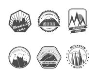 Snowy mountains labels collection royalty free illustration