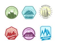 Snowy mountains labels collection stock illustration