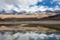 Snowy Mountains in Ladakh reflects in Pangong. Stock Images