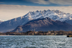 Snowy mountains. Mountains and lake landscape to represent a calm image royalty free stock images