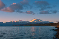 Snowy mountains and lakes Royalty Free Stock Images
