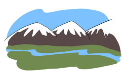 Snowy mountains landscape illustration. Valley view drawing Stock Image