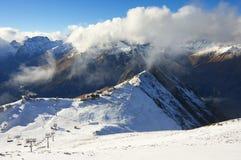 Snowy mountains landscape Stock Photo