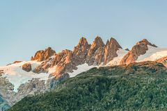 Snowy Mountains Landscape, Patagonia, Chile. Snowy mountains landscape scene at chilean patagonian territory Royalty Free Stock Image