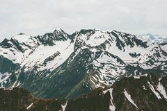 Snowy Mountains Landscape Summer Travel wild nature. Scenic aerial view Stock Photography