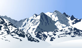 Snowy mountains landscape. Vector illustration. Outdoor background. Mountain valley in winter Stock Photography