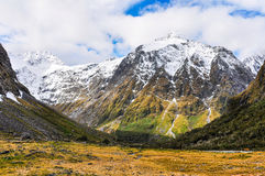 Snowy mountains in the Milford Road, New Zealand Royalty Free Stock Photo