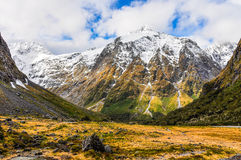 Snowy mountains in the Milford Road, New Zealand Royalty Free Stock Photography