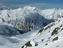 Snowy mountains. Mountain peak of the French Alps in Les Trois Vallees, France Stock Photos